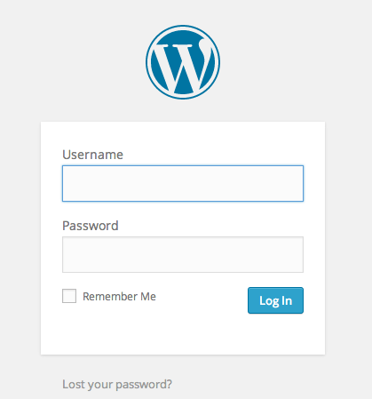 wordpress blog login page