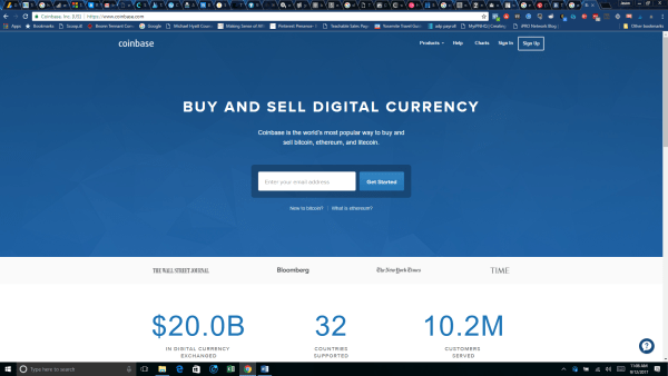 Coinbase home page - purchase ethereum cryptocurrency