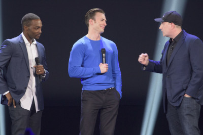 Anthony Mackie, Chris Evans and Marvel President Kevin Feige. Photo copyright Disney.