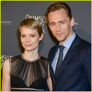 Stars Mia Wasikowska and Tom Hiddleston at the New York Premiere of Crimson Peak.  Photo copyright Universal Pictures