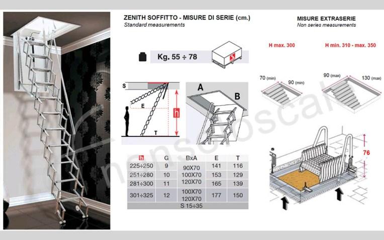 Scala retrattile a soffitto motorizzata Zenith