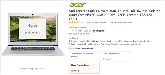 best selling laptop Acer Chromebook 14''