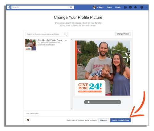 Click to apply your Give More 24! Facebook profile overlay