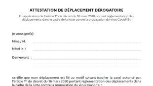 Covid-19 : Nouvelle attestation de déplacement dérogatoire