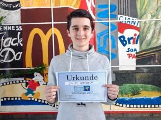 Schulsieger im Wettbewerb Diercke Wissen 2017: Julian Gangolf