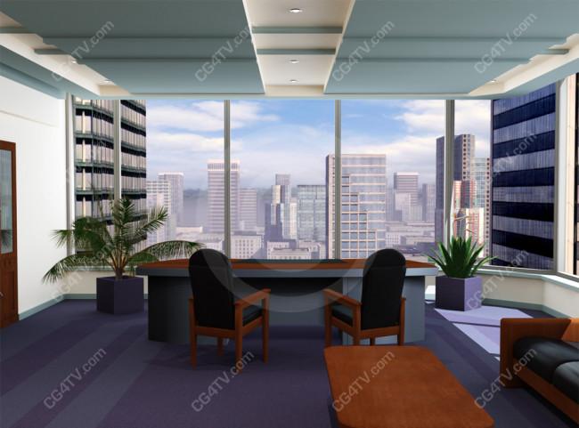 Camera 2 Of Blue Corporate Corner Office