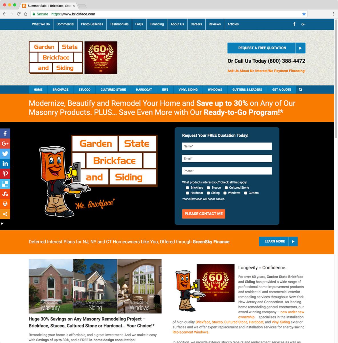 Garden State Brickface and Siding Website