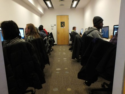 Game jammers being busy in one of the designated work areas.