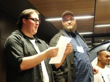 TGGJ organizers Randy Orenstein and Troy Morrissey make some announcements