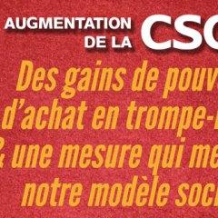 CSG : Des gains de pouvoir d'achat en trompe-l'œil  & une mesure qui menace notre modèle social !