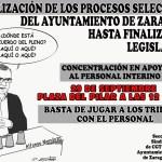Se calienta la situación con el personal interino. Convocada concentración día 29 a las 13h frente al Ayuntamiento pza. Pilar.