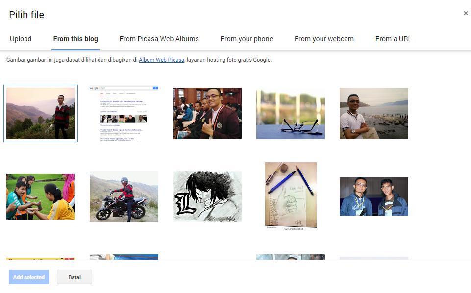 uplod gambar cara membuat blog mudah