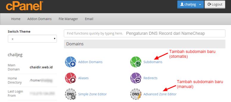 Tambah Subdomain dan Pengaturan DNS hosting