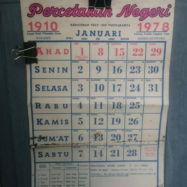 Kalender lama januari hari ahad