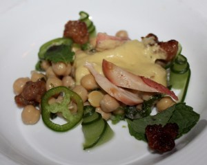 Grilled octopus, Italian sausage, garbanzo beans, cucumber, mint, and yuzu