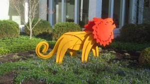 Garden sculpture at Weinberg home
