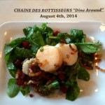 Chilled poached sea scallops with roasted beets, arugula, house cured pancetta, and charred onion-thyme vinaigrette
