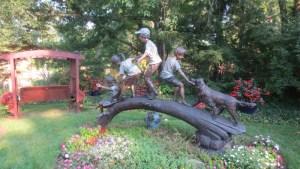Garden sculpture at Millet home
