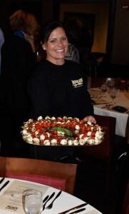 Moerlein Lager House server with Caprese skewers