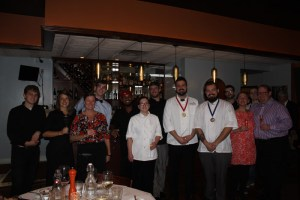 Nick Ellison (first place) and John Biehle (second place) with the La Poste Restaurant staff