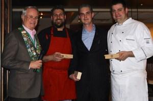 George Elliott, Red Feather Chef/Owner Brad Bernstein, General Manager/Sommelier Devon Barrett, and Chef/Owner Brett Crowe
