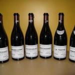 Lineup of six Grand Cru bottles