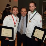 Silver Medalist Dan Conroy, Culinary Judge Chef Jean-Robert de Cavel, and Gold Medalist Andrew Mersmann