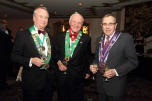 Bailli George Elliott, Bailli Hon. Irwin Weinberg, and Chevalier Bill James