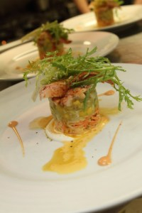 Maine lobster salad with tropical fruit, avocado, celery root and carrot remoulade
