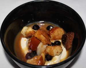 White Chocolate Sour Cream Custard with Brioche Brown Butter Crumble, Lychee, and Ginger Caramel