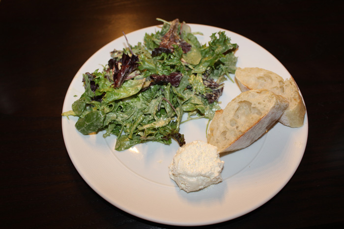 Green salad, baguette and butter