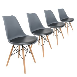 lot 4 chaises scandinaves tulipe
