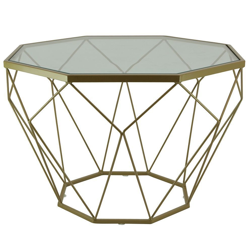 table basse verre et metal dore chic