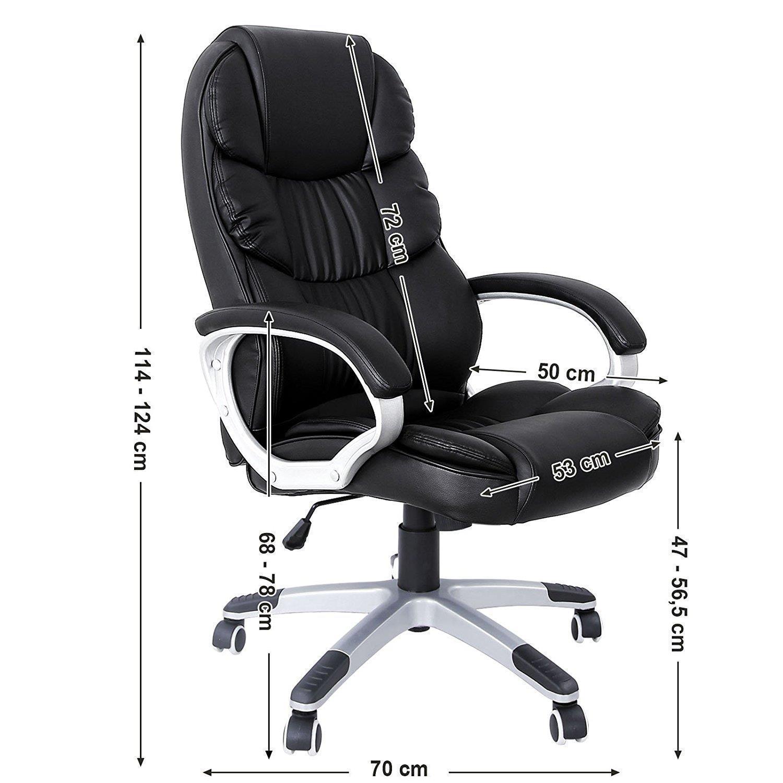 fauteuil de bureau olivia grand rembourrage resistance jusqu a 150 kg cuir noir