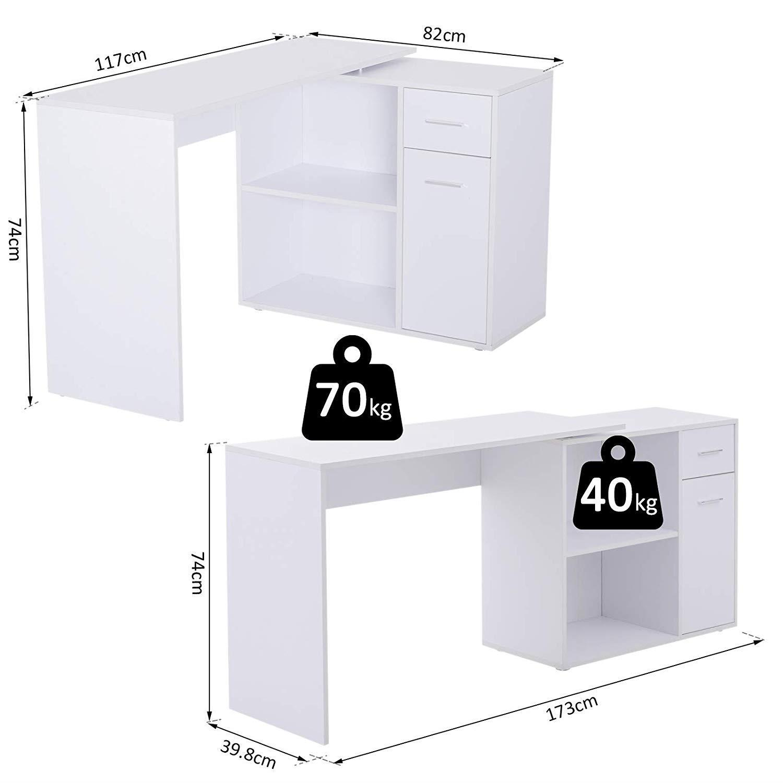 bureau d angle modulable yann avec tiroir et etageres en bois blanc