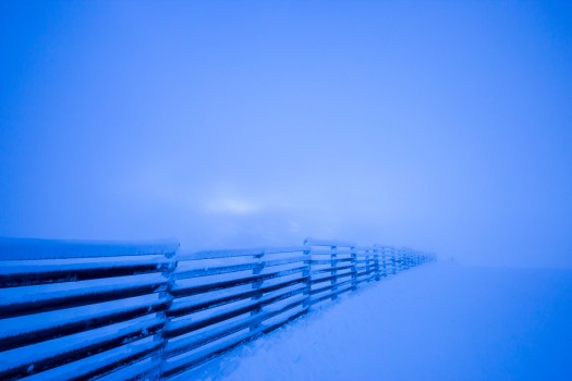 Frosty Fence In The Fog