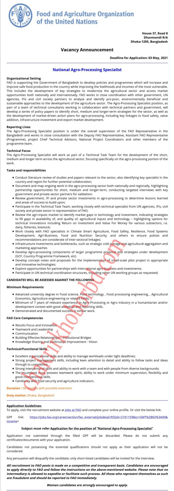 job at food and agriculture organization of the united nations