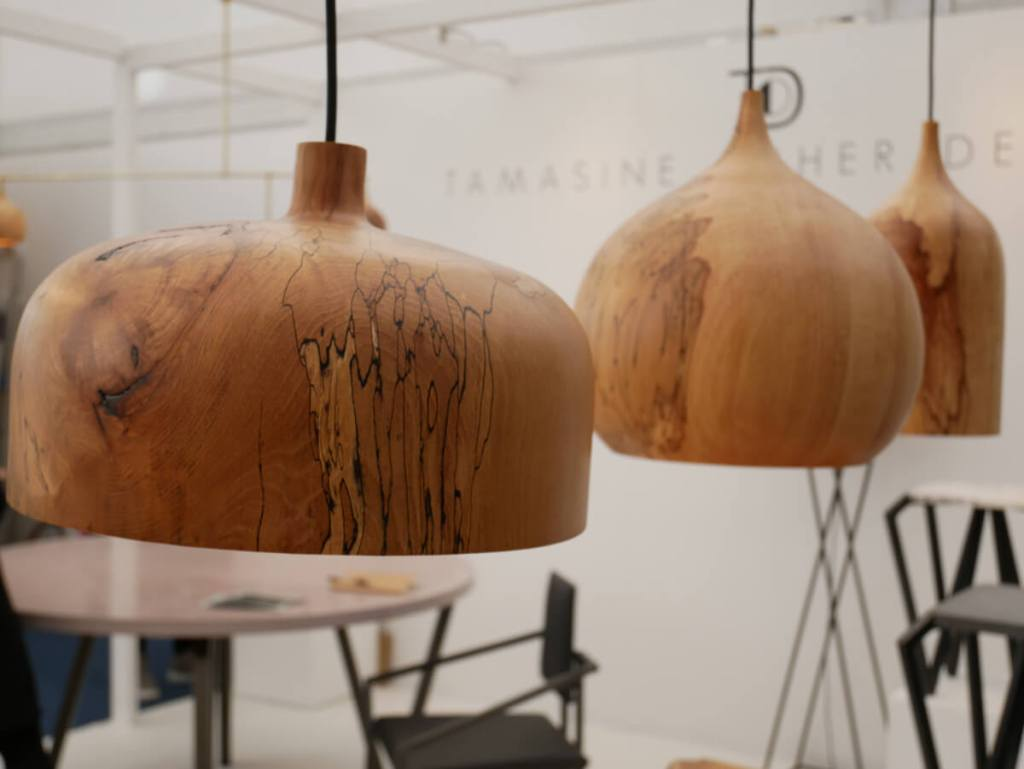 Beautifully tactile lamps and furniture in natural materials, by Tamasine Osher at London Design Festival.