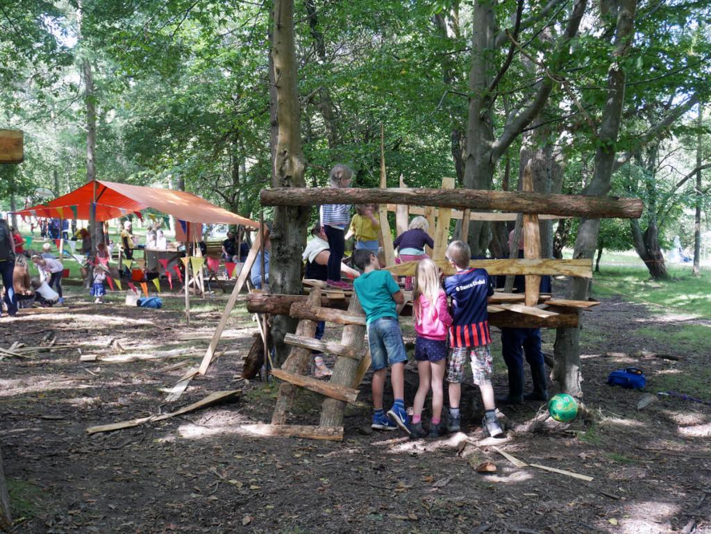 Woodland Tribe's adventure playground at Into The Trees. Entirely made by children, supervised by adults. Let the kids be kids!