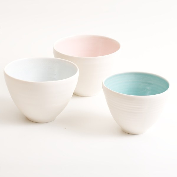 Handmade Porcelain Coloured Deep Bowl and more. Available in 3 sizes, 4 colours. Pale pink, turquoise, grey and pale blue.