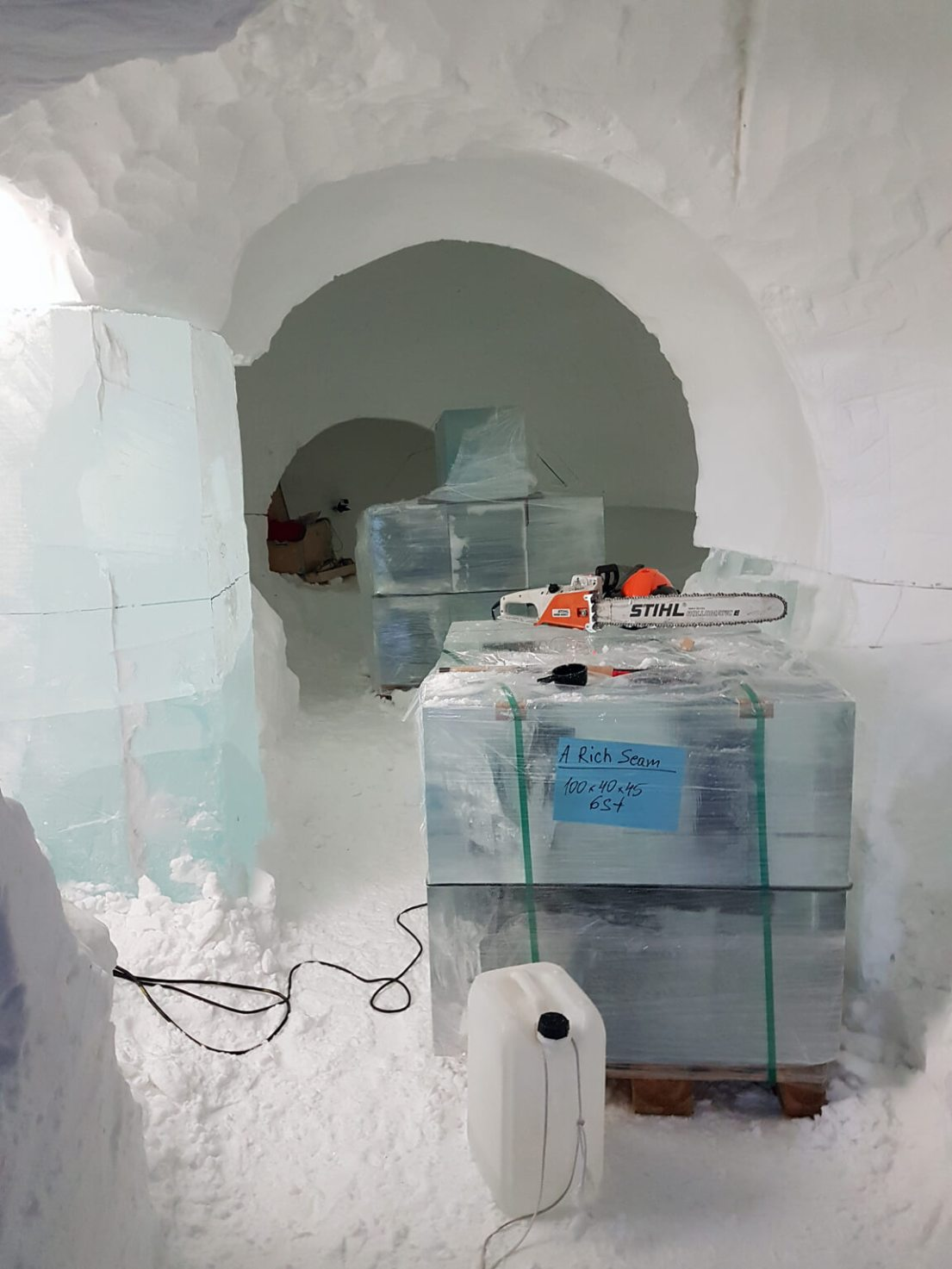 ICEHOTEL Sweden is built entirely of ice. The ice blocks have here been delivered, ready for carving.