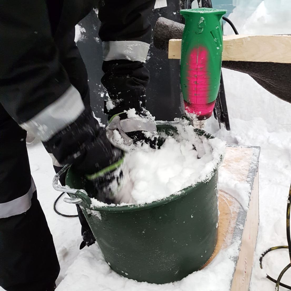 Snice is snow and ice, used as a sticky glue in the construction of the snow and ice hotel. Here are Hugh and Howard Miller hard at work on ICEHOTEL Sweden 2018.