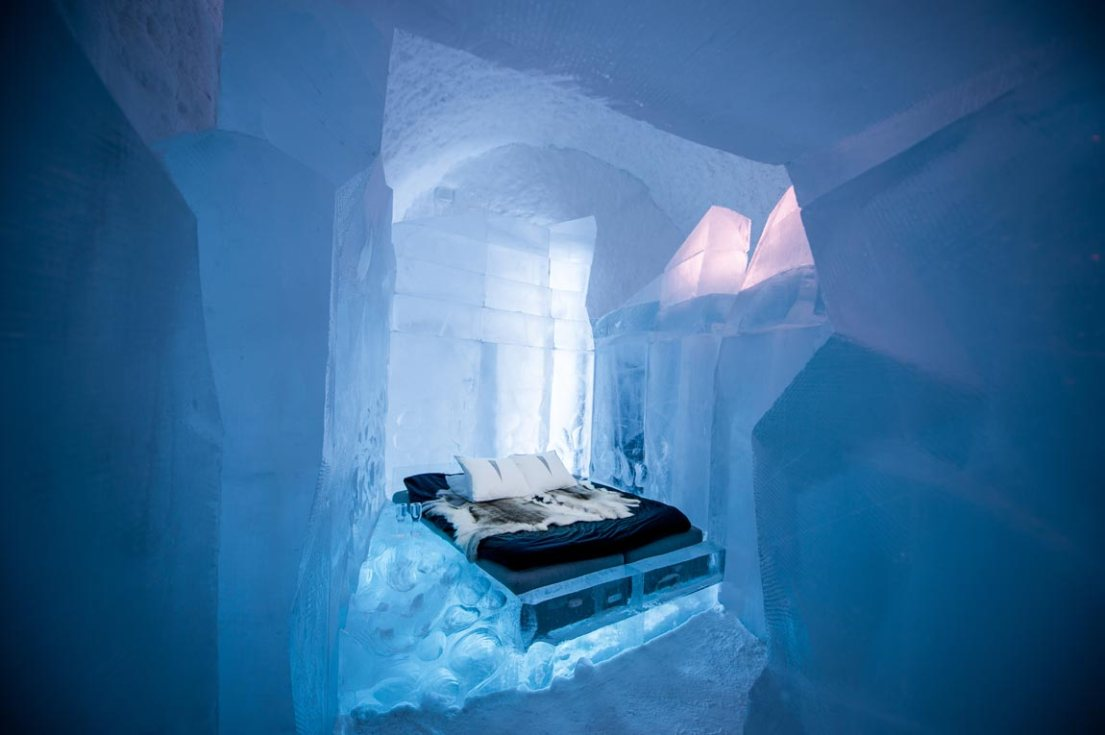 labyrinth design at Icehotel Sweden, where you can see northern lights