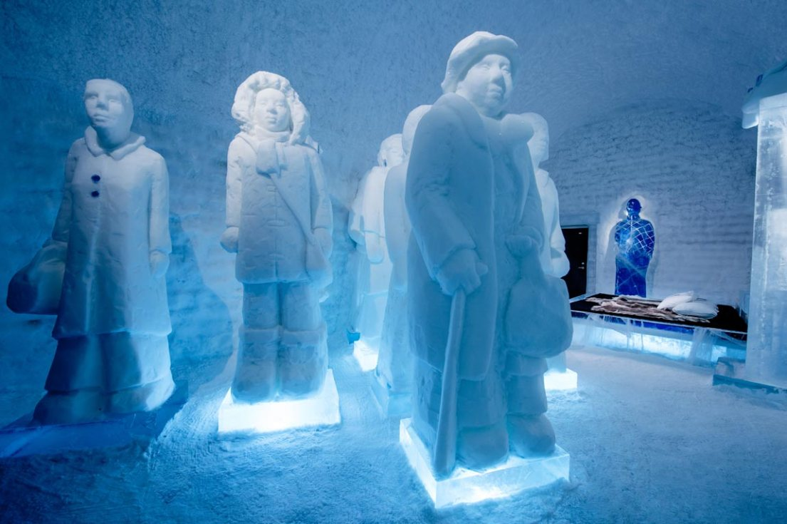 invisible invincible shows staggeringly tall marching women at this year's ICEHOTEL Sweden, where you can see the mighty Northern Lights.