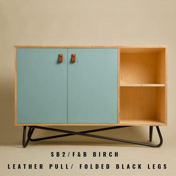 Dining room sideboard in Farrow & Ball painted birch. Designed and made by Out of the Woodwork, sold on Chalk & Moss. Available in a range of fronts, Farrow & Ball colours, handles and legs. Shown here in painted birch front, leather pull handle and powder coated black steel folded legs.