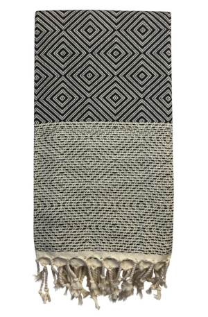 Rhombus geometric towel, perfect for that bold bathroom look. A lightweight and quick drying weave, also ideal as a soft scarf or throw.
