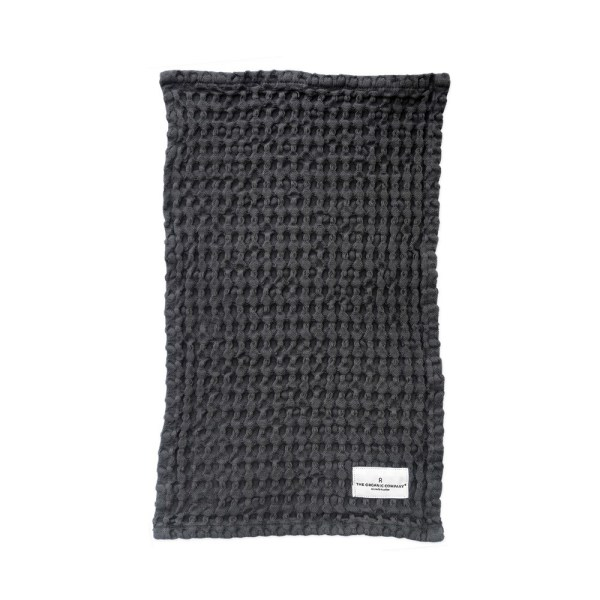 Big waffle kitchen and wash cloth in dark grey. 40x25cm. Danish design by The Organic Company, on Chalk & Moss. Ethically made in India.