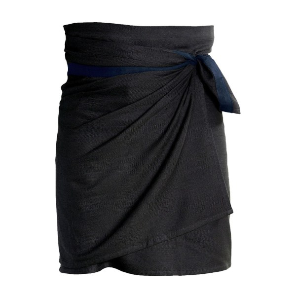 Giant kitchen towel apron - seen here in black/blue. Also available in clay and dark grey. Designed by the Organic Company in Denmark, sold on Chalk & Moss.