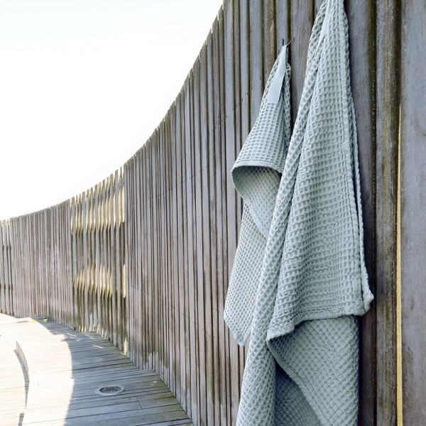 Waffle towels designed by The Organic Company. This soft and absorbent medium sized towel is available in a range of soft colours with a Scandinavian feel. Seen here in Sky blue.