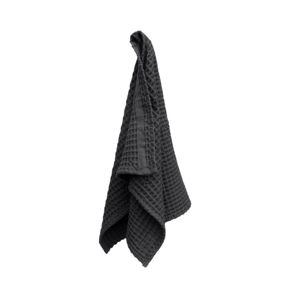 Big waffle hand towel in dark grey. By Denmark's The Organic Company. 100% GOTS certified organic cotton, ethically made in India. Sold on nature connected design shop Chalk & Moss (chalkandmoss.com)